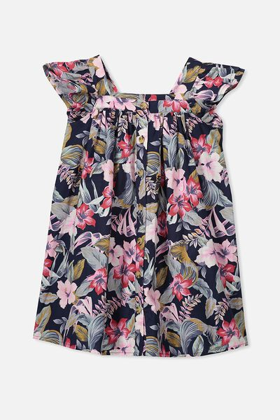 Polly Placket Dress, LUCKY TROPICAL FLORAL