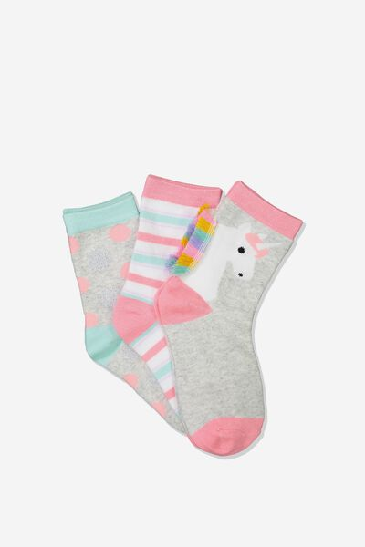 Kids 3Pk Crew Sock, UNICORN/GREY MARLE