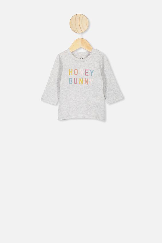 Jamie Long Sleeve Baby Tee, GREY MARLE/HONEY BUNNY