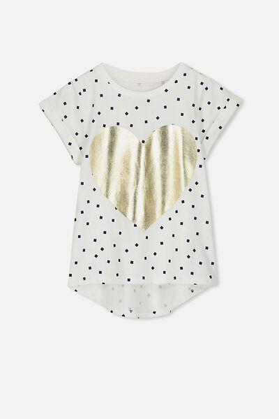 Penelope Short Sleeve Curved Hem Tee, VANILLA SQUARES/HEART