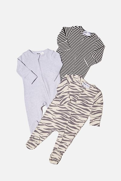 3 Pack Long Sleeve Zip Romper, MARTY ZEBRA/CLOUD MARLE/BLACK STRIPE