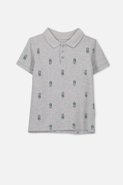 Kenny3 Polo, LIGHT GREY MARLE/PINEAPPLE