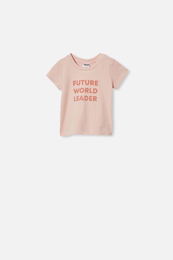 Jamie Short Sleeve Tee, PEACH WHIP/FUTURE WORLD LEADER