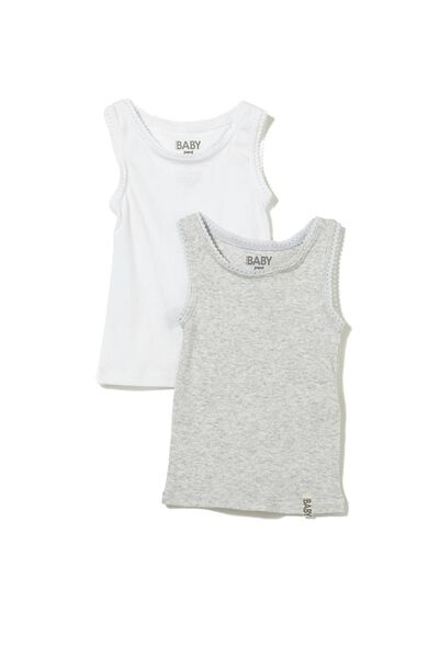Baby Singlet, WHITE/CLOUD MARLE