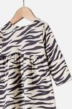 Molly Long Sleeve Dress, DARK VANILLA/MARTY ZEBRA