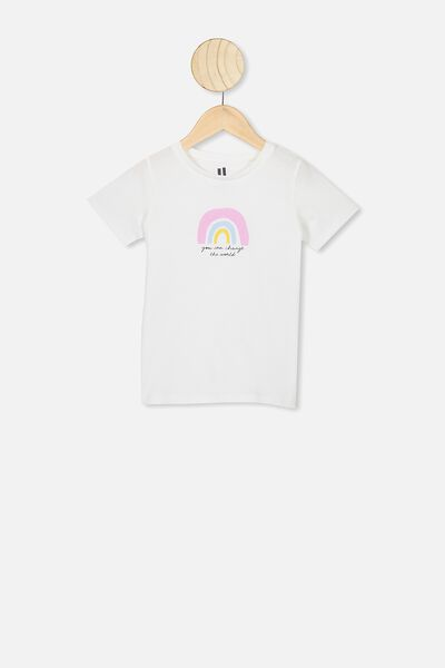 Penelope Short Sleeve Tee, VANILLA/CHANGE THE WORLD RAINBOW