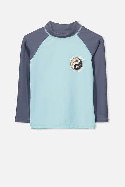 Fraser Long Sleeve Rash Vest, POOL BLUE/CHILL OUT
