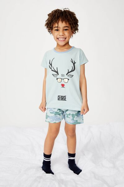 Hudson Short Sleeve Pyjama Set- Personalised, XMAS CAMO REINDEER/PERSONALISED