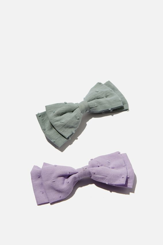 Big Bow Clips, ETHER/VINTAGE LILAC DOBBY