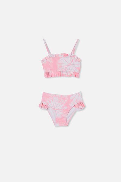 Riley Ruffle Bikini, CALI PINK TIE DYE