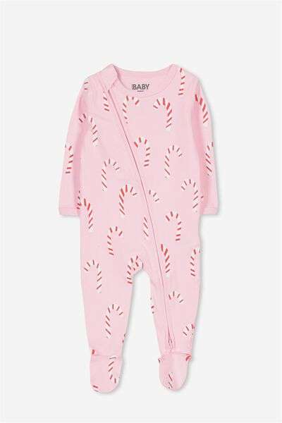 Sleep Mini Zip All In One Jumpsuit, FAIRY TALE/CHRISTMAS CANE