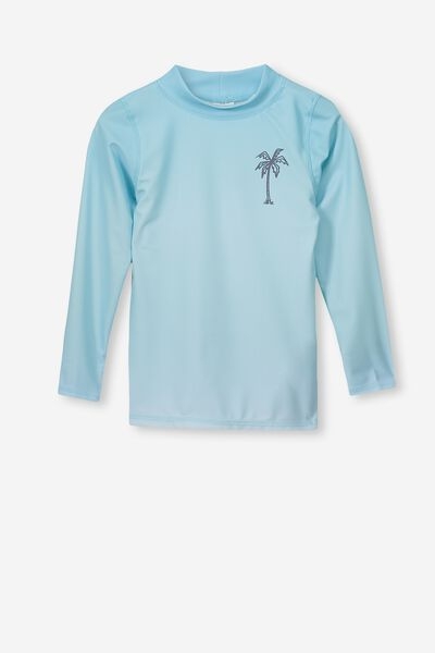 Fraser Long Sleeve Rash Vest, POOL BLUE GRADIENT/PALM TREE