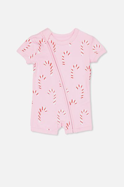 Mini Ss Zip Through Romper, FAIRY TALE/CHRISTMAS CANE