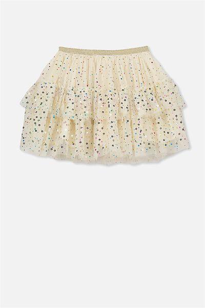 Trixiebelle Tulle Skirt, MILK/RAINBOW SPARKLE