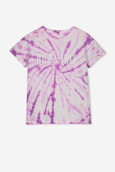 Stevie Ss Embellished Tee, PURPLE TIE DYE/WILD AND FREE/MAX