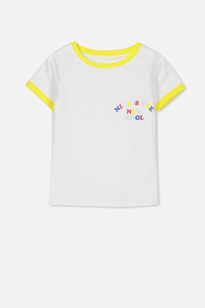 Penelope Short Sleeve Tee, WHITE/NEW COOL/RINGER