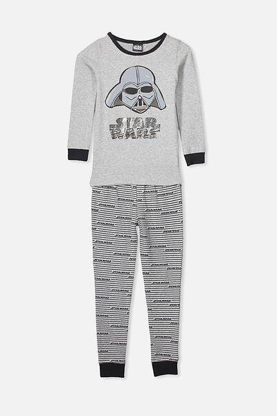 Ethan Long Sleeve Boys Pyjama Set, LCN LU STAR WARS/DARTH VADER/GREY