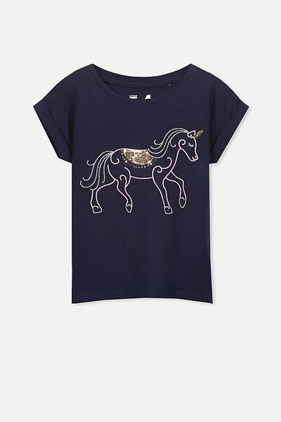 Anna Short Sleeve Stepped Hem Tee, PEACOAT/ EMBROIDERED HORSE