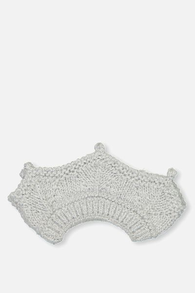Baby Knitted Crown, GREY MARLE CABLE