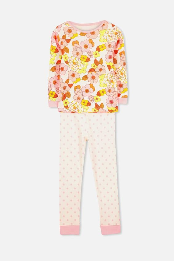 Alicia Long Sleeve Girls PJ Set, FLORAL AND SPOTS