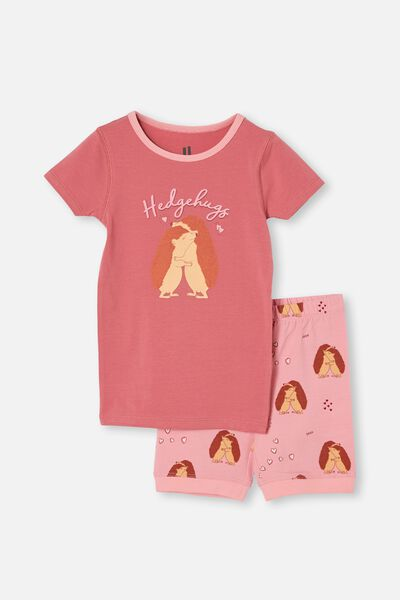 Nikki Short Sleeve Pyjama Set, HEDGEHUGS VERY BERRY