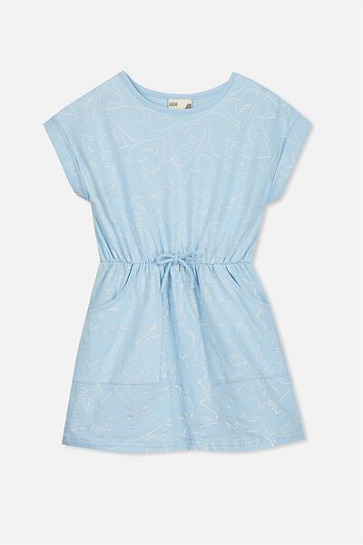 Sibella Short Sleeve Dress, CORYDALIS BLUE/HEARTS