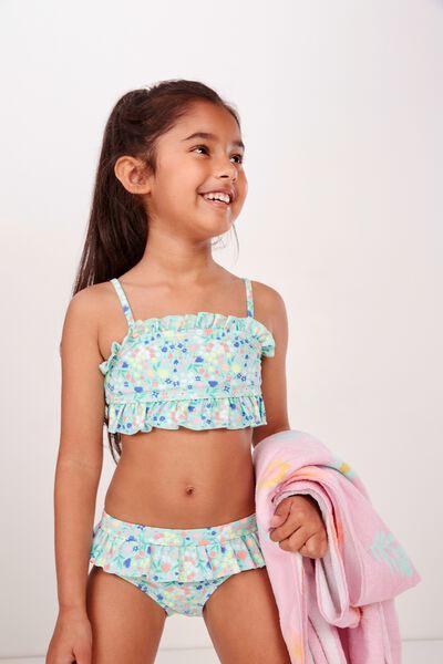Riley Ruffle Bikini, DITSY FLORAL BEACH GLASS