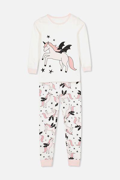 Ruby Long Sleeve Girls Pyjamas, FLYING UNICORN/PINK