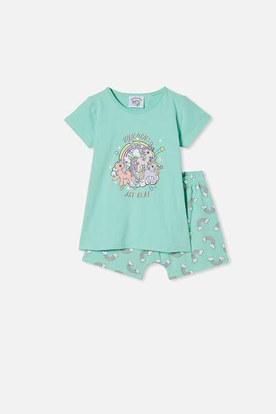 Harpa Short Sleeve Pyjama Set, LCN HAS MLP UNICORNS ARE REAL/DREAM BLUE