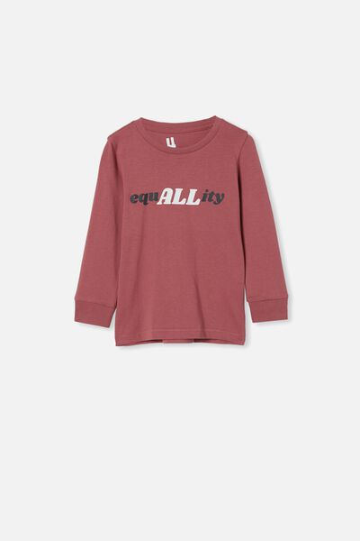 Tom Long Sleeve Tee, VINTAGE BERRY/EQUALLITY