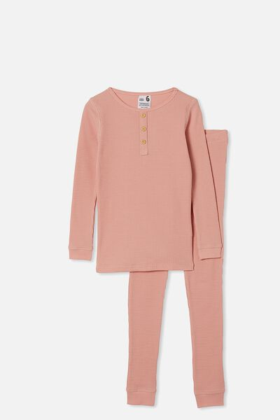Charlie Waffle Long Sleeve Pyjama Set, SMOKED SALMON