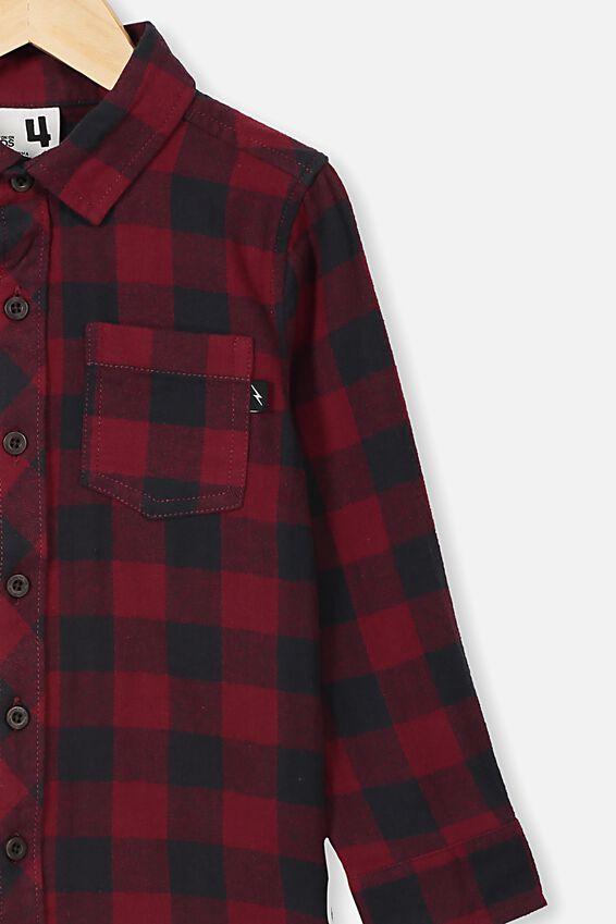 Rugged Long Sleeve Shirt, BURGUNDY/PHANTOM