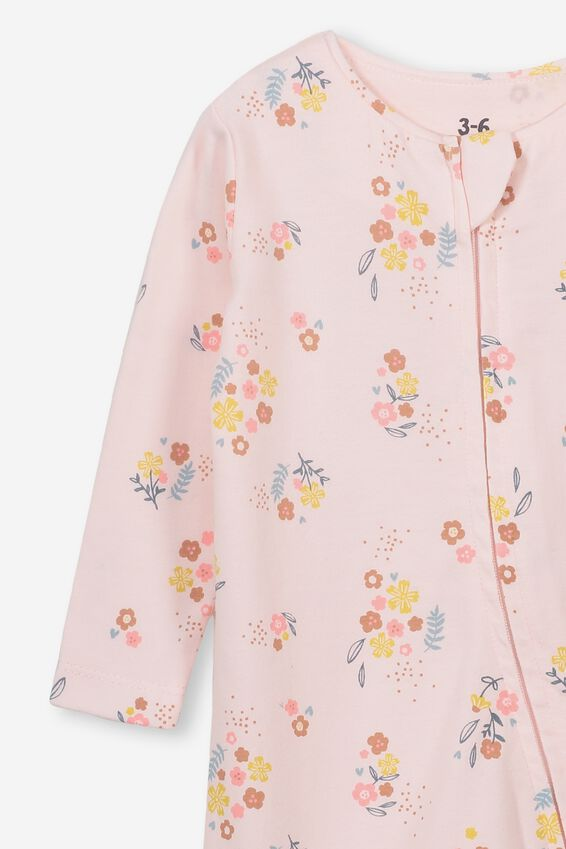 The Snug Long Sleeve Zip Romper, CRYSTAL PINK/NORA FLORAL