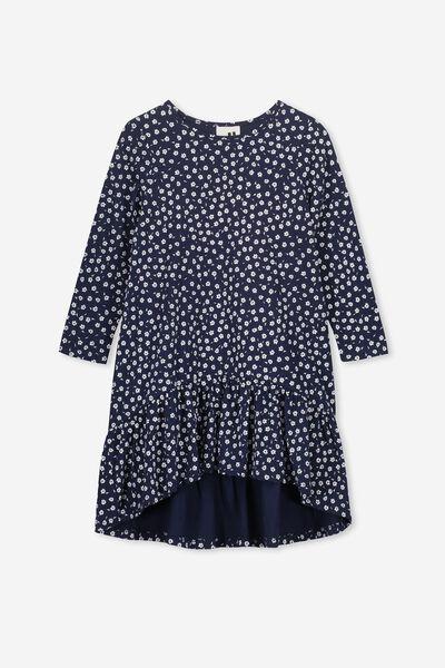 Joss Long Sleeve Dress, PEACOAT/SIMPLE DITSY