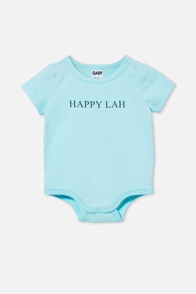 The Short Sleeve Bubbysuit, DREAM BLUE/HAPPY LAH