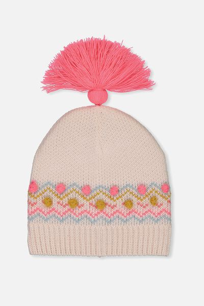 Tassel Knit Beanie, STRAWBERRY POP