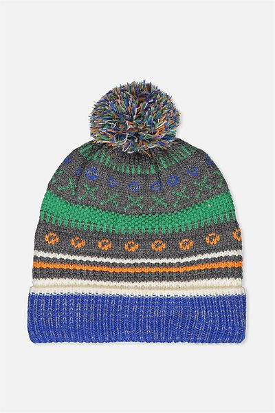 Winter Knit Beanie, MULTI JACQUARED