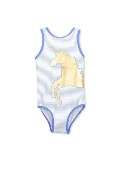 Lisette One Piece Swimsuit, VANILLA/BLUE DAISY STRIPE UNICORN