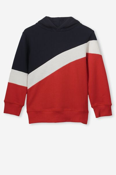 Mason Hoodie, NAVY/RALLY RED SPLICE