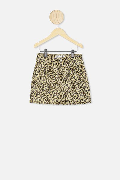 Kirstie Denim Yoke Skirt, SAND DUNE/SNOW LEOPARD