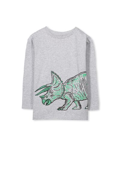 Tom Ls Tee, LT GREY MARLE/DINOS