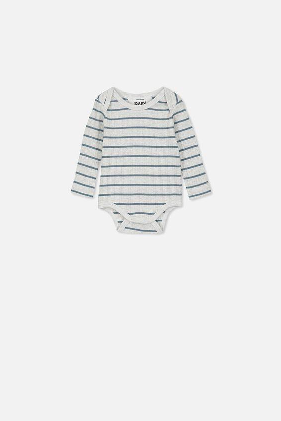 Newborn Long Sleeve Bubbysuit, MAX STRIPE SOFT GREY MARLE/DEEP POOL BLUE