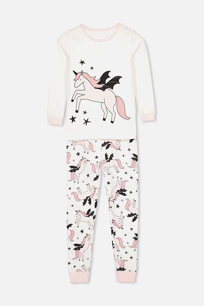 Lila Long Sleeve Pyjama Set, FLYING UNICORN/PINK