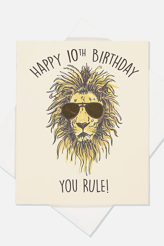Alex Birthday Card, 10TH BIRTHDAY LION