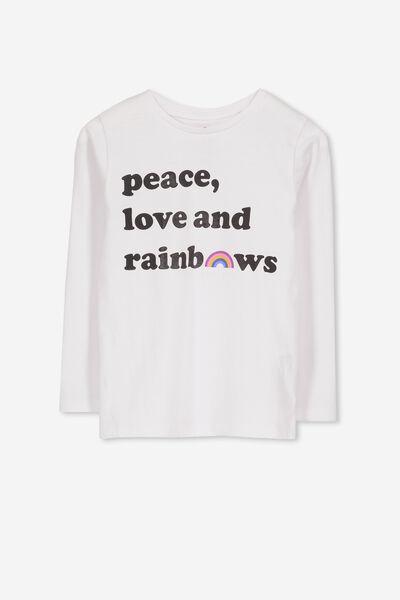 Penelope Long Sleeve Tee, WHITE/PEACE LOVE RAINBOWS/SET IN