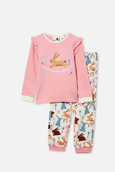 Edith Long Sleeve Pyjama Set, BE HOPPY/MARSHMALLOW