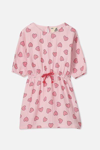 Maisie Long Sleeve Dress, BUBBLEGUM PINK/HEARTS