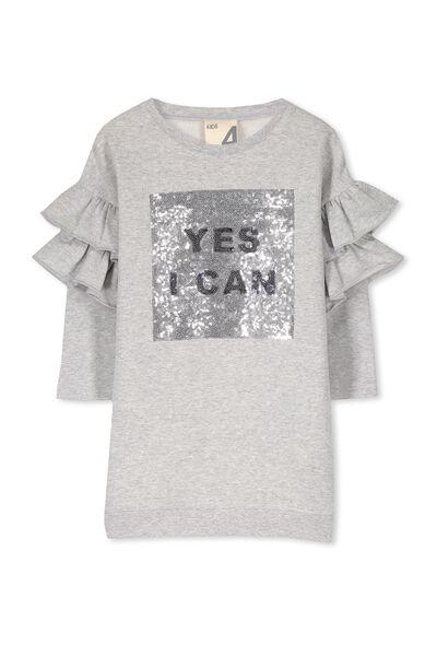 Andrea Frill Sleeve Dress, LT GREY MARLE/YES I CAN