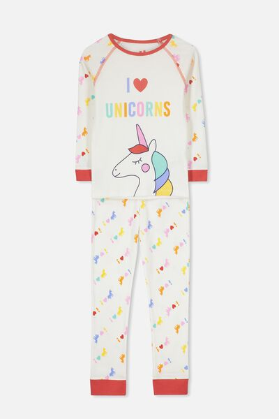 Heidi Girls Long Sleeve PJ Set, I LOVE UNICORNS
