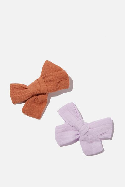 Big Bow Clips - Cheesecloth, ROASTED ALMOND / PINK QUARTZ